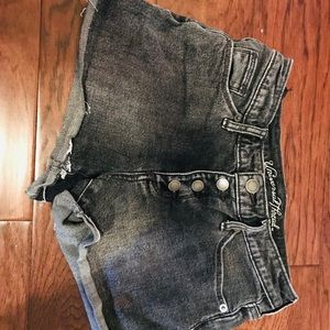 GREY WASED OUT DENIM SHORTS